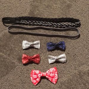 Set of 5 Hair Bows & 2 Headbands Glitter Red Blue